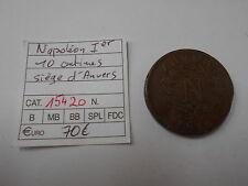 NAPOLEON IER - MONNAIE OBSIDIONALE  10 CENTIMES SIEGE D'ANVERS 1814W - REF15420