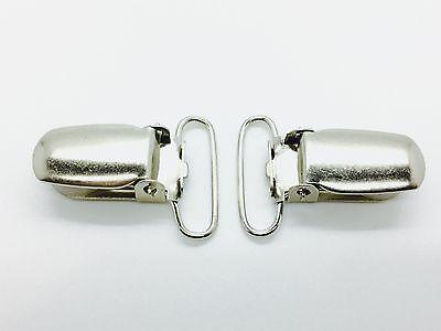 10 Silver Metal Brace Chupete Liga Clips Soporte Correa Agarre Craft 34x24mm Uk Modelado Duradero
