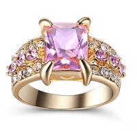 Size 8 Gold Plated Sapphire Wedding Engagement Bridal Anniversary Princess Cut