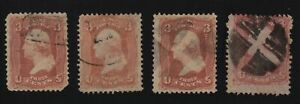 1861-Sc-65-used-lot-of-4-sound-stamps-CV-12