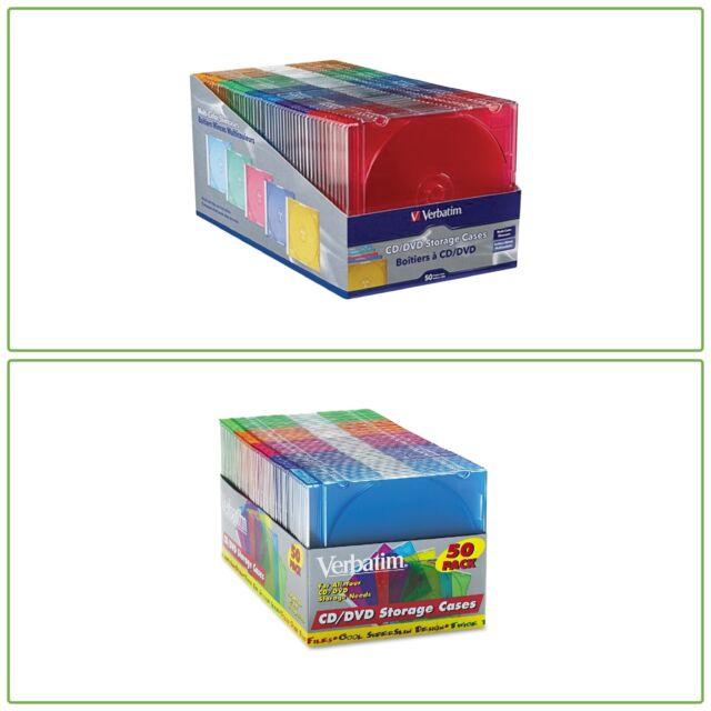 50 Pcs CD DVD Assorted Color Plastic Slim Jewel Travel Cases Storage Organizer