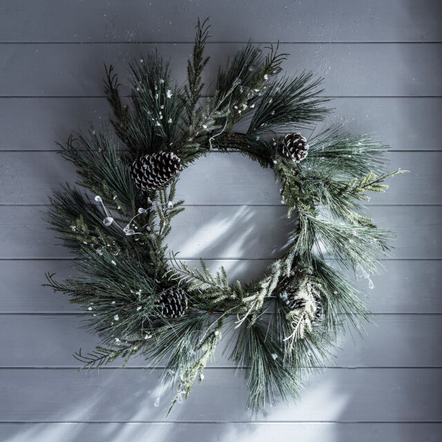 60cm Snowy Glitter Artificial Christmas Door Wreath Decoration