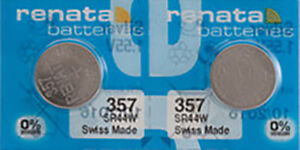 2 x Renata 357 Watch Batteries, 0% MERCURY equivalent SR44W, Swiss Made