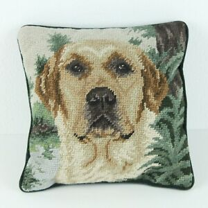 Vintage-Needlepoint-Throw-Pillow-Yellow-Labrador-Dog-10-034-Square-Cottage-Granny