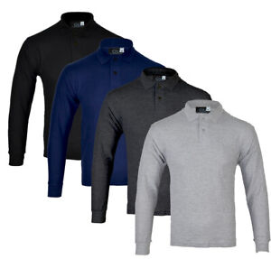 Mens-Long-Sleeve-Plain-Pique-Polo-Shirt-Top-Warm-Work-S-M-L-XL-XXL