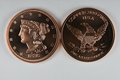 1836 Braided Hair Large Cent 1 oz .999 Copper Round