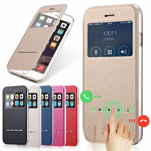 Metal-Touch-Flip-Window-Leather-Slot-Stand-TPU-Bumper-Case-For-iPhone-Samsung-LG
