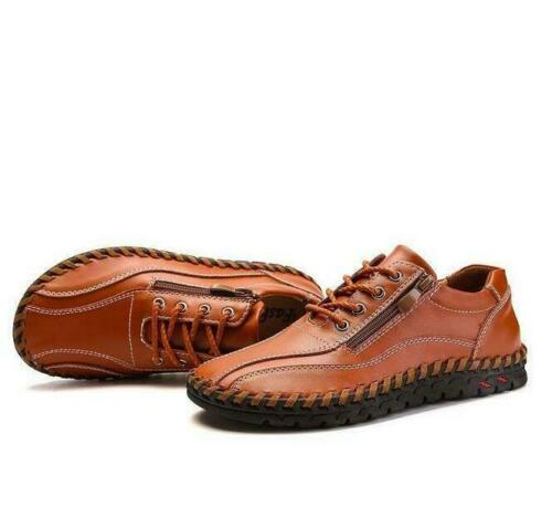 Plus SZ 38-50 Men Leather Round Toe Lace Up Zip Shoes Casual Flat Slip On Loafer