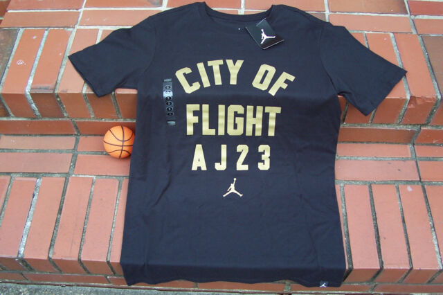 828ff4ae840 NEW Nike Air Jordan Retro 1 CITY OF FLIGHT A J 23 Blk Gold Men's T ...