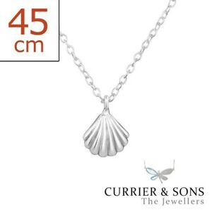 Silver Shell Pendant with 18
