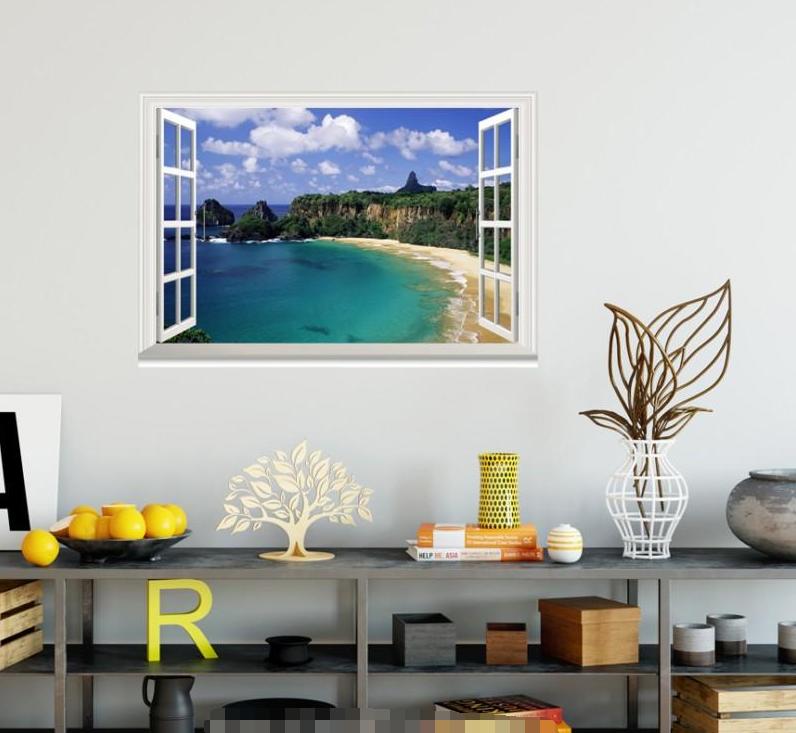 3D Blau Sea Forest 55 Open Windows Mural Wall Print Decal Deco AJ Wallpaper Ivy
