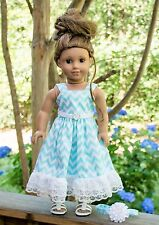 """Handmade American Girl Doll Clothes, Teal and White Chevron Dress, Fits Lea, 18"""""""