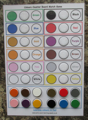 Colour matching game board SOLID COUNTERS~PRE-SCHOOL~EYFS~FIRST LEARNING~AUTISM