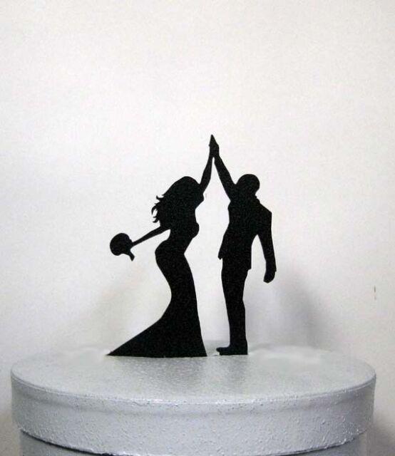 Custom wedding cake topper - High Five 2 with the groom in kilt