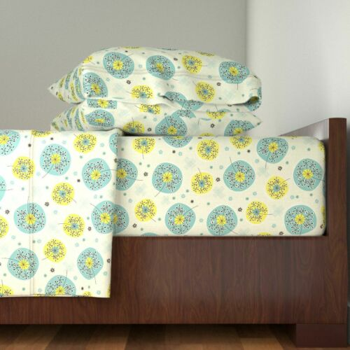 Mid Century Modern Floral Vintage Retro 100/% Cotton Sateen Sheet Set by Roostery