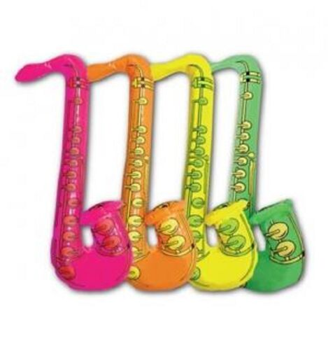 Inflatable Blow Up Fancy Dress Saxophone 4 Pack Sax Photo Booth Assorted Colours