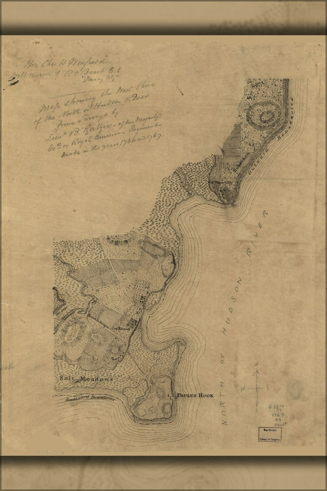 Poster, Many Größes; Map Of West Shore Hudson River New Jersey 1767