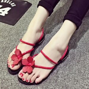 D126-New-Women-039-s-Flower-Cross-Straps-Summer-Students-Leather-Flats-Sandals-Shoes