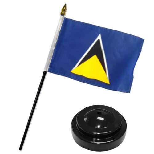 "St Lucia 4/""x6/"" Flag Desk Set Table Stick Black Base"