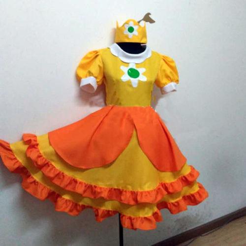 Super Mario Princess Daisy Costume Vigezzo Yellow Adult Cosplay Dress Hat MM.825