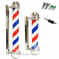Slim Round Top Barber Shop Pole Rotating Red White Blue Lamp Light Hair Sign