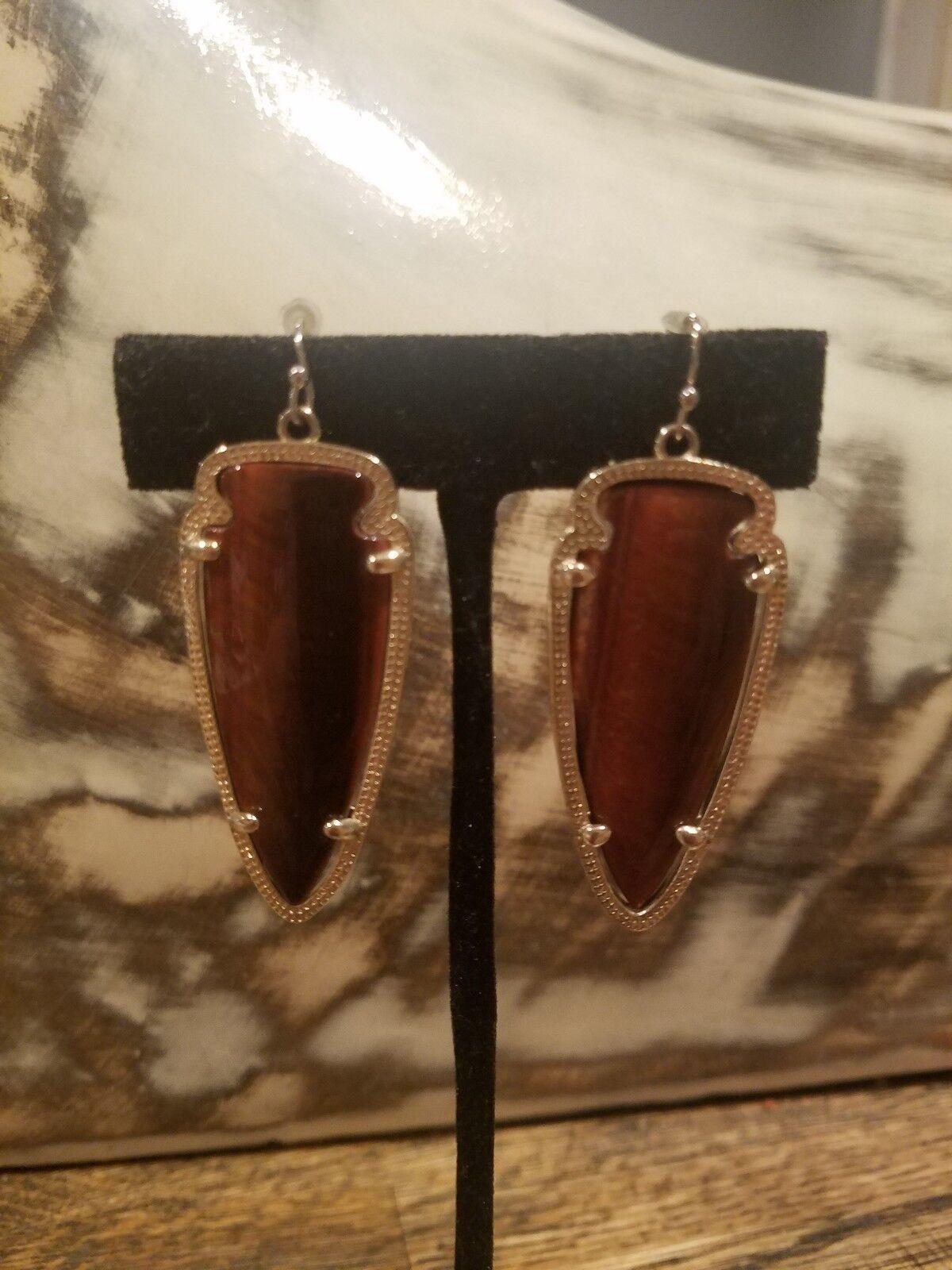 KS Skylar Tiger's Eye gold Drop Earrings Rare