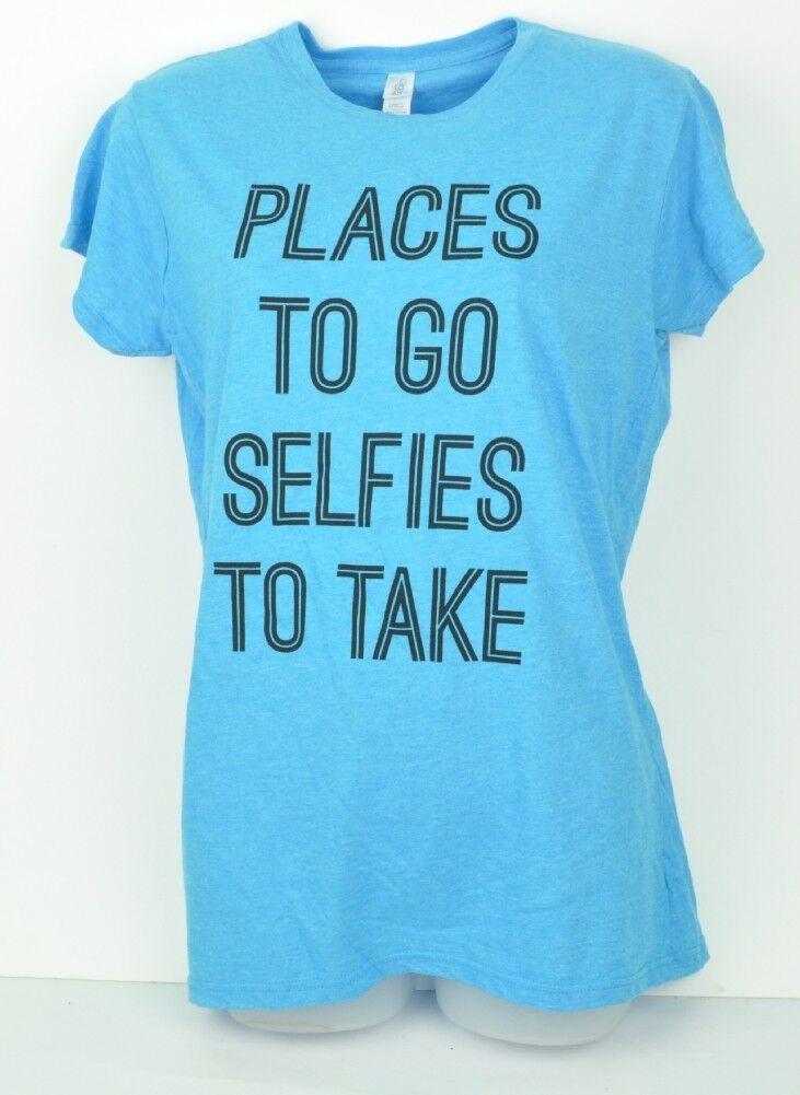 Hellblau Orte Sich Go Selfies To Take Rundhals Damen XL T-Shirt