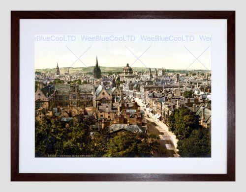 VINTAGE COLOURED HIGH STREET OXFORD ENGLAND 1890S UK FRAMED ART PRINT B12X10376