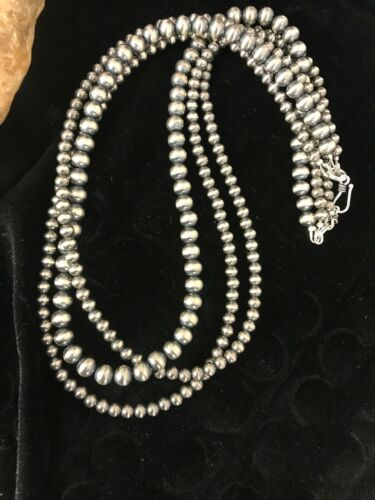 """Native American Sterling Silver Navajo Pearls Necklace 21"""" 3 Str Gift 4,5,6 mm"""