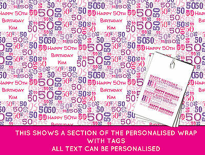Personalised Happy 50th Birthday Wrapping paper - Pink 50th Gift Wrap