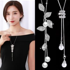 Women-Pearl-Crystal-Leaves-Flower-Multilayer-Pendant-Necklace-Sweater-Long-Chain