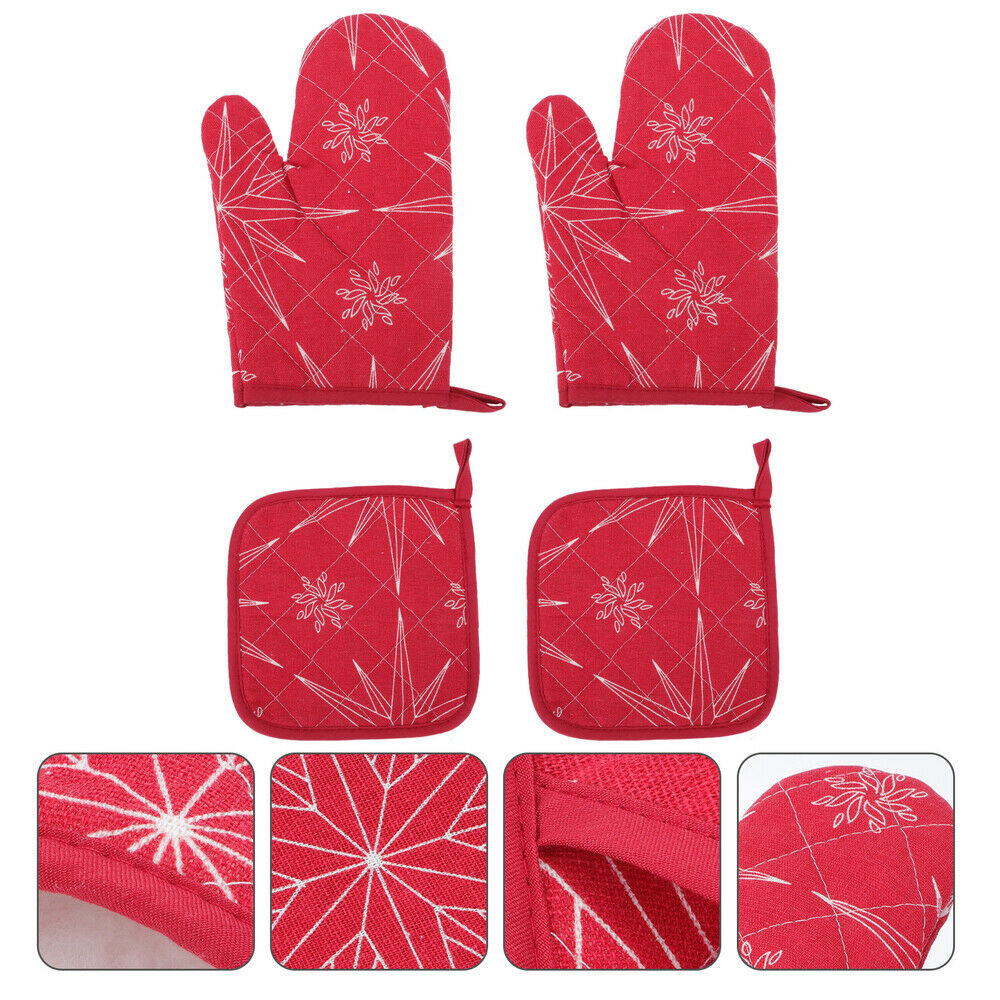 1Set Oven Mitts Xmas Glove Kitchen Gadget Home Table Cushion for Home Decor