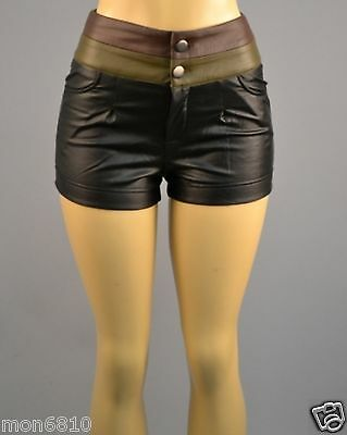 WOMEN SEXY HIGH WAIST FAUX LEATHER SHORTS