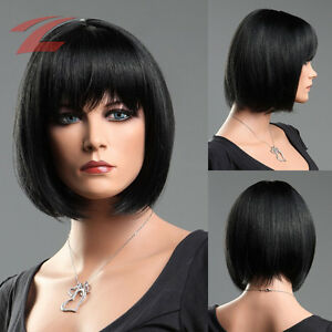 damen per cke schwarz haar wig weiblich glatt kurz cosplay kost m bob kurzhaar ebay. Black Bedroom Furniture Sets. Home Design Ideas