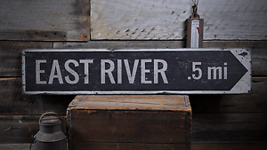 East River Arrow Mileage Rustic Distressed Wood Sign ENS1001738 Custom Lake