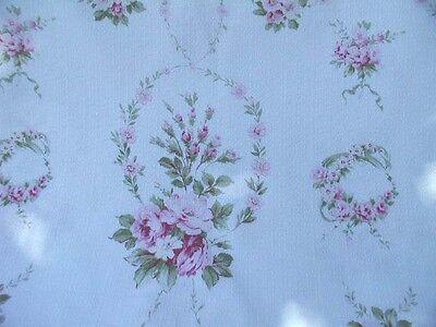 Yuwa  Michele- Garlands of Pink Roses on White Cretonne Dobby  (Barkcloth) Yd.