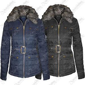 Ladies Womens Quilted Belt Padded Jackets Fur Collar Hood Zip Winter