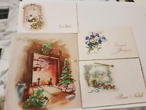 Auguri Di Natale Anni 50.Dettagli Su Biglietti Di Auguri Di Buon Natale Antiche Vecchi Anni 50 60 4 Pz