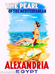 Egypt Alexandria Pearl Egyptian Mediterranean Travel Advertisement Art Poster