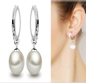 Fashion-Ladies-Silver-Plated-Charming-Pearl-Dangle-Ear-Stud-Hoop-Earrings-Gift