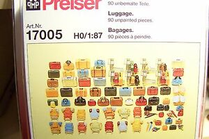 Image is loading HO-Preiser-17005-NINETY-90-PIECES-UNPAINTED-LUGGAGE-