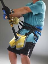 AFTCO Clarion Belt BELT1GLD And Maxforce Harness HRNS1 BLUE Fish Fighting Combo