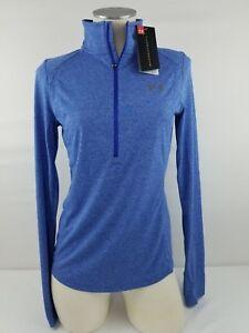 Under-Armour-Women-039-s-Threadborne-1-2-Zip-Shirt-1307591-Blue-Heather-Multi-Size
