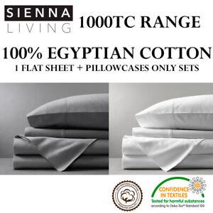 1000TC-THREAD-COUNT-100-EGYPTIAN-COTTON-FLAT-SHEET-PILLOWCASES-ONLY-SET