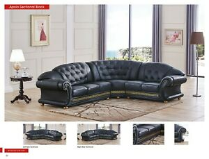 Incredible Details About Apolo Sectional Sofa In Black Color 100 Genuine Italian Leather Pabps2019 Chair Design Images Pabps2019Com
