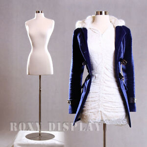 Female Size 2-4 Mannequin Dress Form Hard Form White #F2/4W+BS-04
