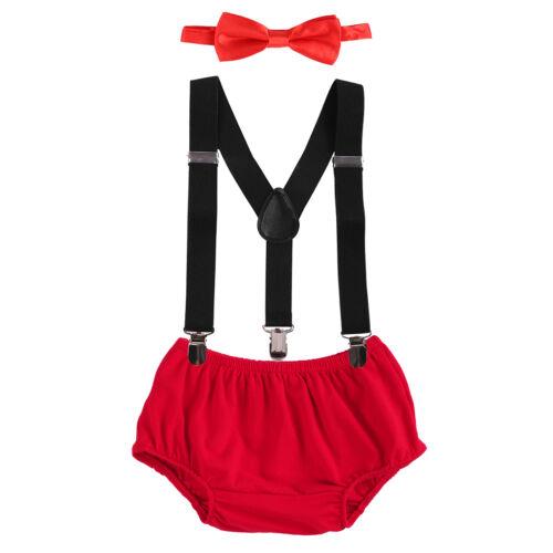 First Birthday Baby Boy Suspender Pants Bowtie Cake Smash Photo Prop Costume