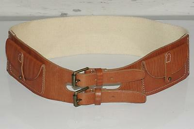RALPH LAUREN~LEATHER~EQUESTRIAN *2 FLAP POCKETS* DOUBLE BUCKLE~BELT~XS (RARE)