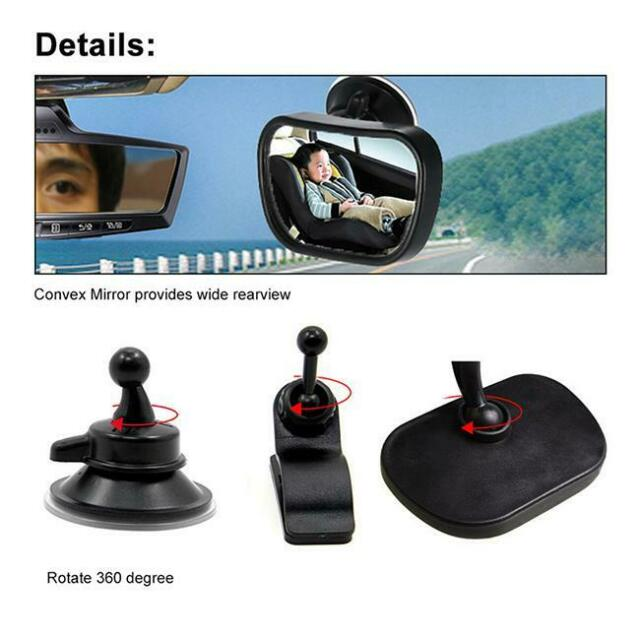 ADJUSTABLE WIDE VIEW REAR/BABY/CHILD SEAT CAR SAFETY MIRROR HEADREST MOUNT - FW