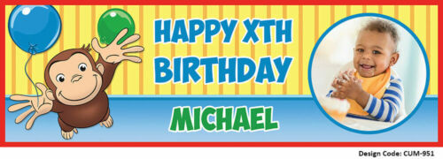 Curious George Birthday Banners PVC Personalised Custom Vinyl Add Photo Name